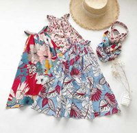 Ins New Summer girls Vestiti abito senza maniche Full Flower Print Summer girl Abbigliamento Dress