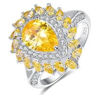 Wish Hot New Gocciolamento di acqua di pera legato con anello di zirconio, anello gioiello viola e oro, misura 6-9
