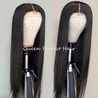 Isıya Dayanıklı Uzun Ipeksi Düz Sentetik Dantel Ön Peruk Siyah Kadınlar Için Doğal Saç Çizgisi Derin Bölüm 180% Yoğunluk Peruk 24 inç Perruque