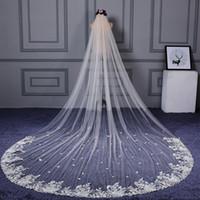 Champagne Tulle Aproximadamente 4 metros de comprimento véus nupciais com laço Appliques encantador marfim véu de casamento Acessórios Velo de Novia Largo