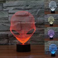 3D Лампа USB Power 7 Цветов Удивительная Оптическая Иллюзия 3D Grow Светодиодная Лампа Чужеродные Формы Детская Спальня Ночник