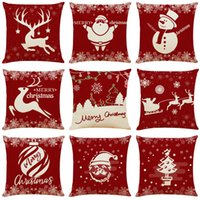 Xmas Holiday Linen Cushion Covers Home Office Sofa Square Pi...