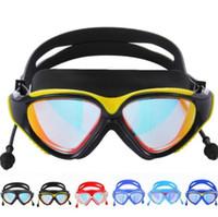연결 된 귀마개 남성 전기 수영 수영 다이빙 안경 여성 HD 방수 수영 안경 Anti-fog Swimming Goggles