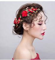 Nupcial tiara coroa retro cabeça vermelha flor artesanal acessórios para o cabelo hairpin brinde acessórios de vestuário clipes laterais mostrar acessórios