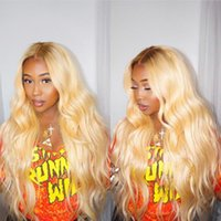 #4T#613 Blonde Color Dark Roots Brazilian Remy Human Hair Fu...