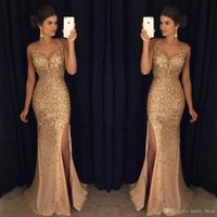 Sparkly Gold Mermaid Prom Dresses Sexy Side Split Full Cryst...