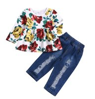 newborn baby girl clothes baby Girls Floral Crop Tops+ Hole D...