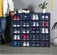 Caixas de sapato de armazenamento de plástico transparente PP Armazenamento armário de caixa de armazenamento de poeira de poeira de armazenamento pode ser dobrado e removível CZG 003