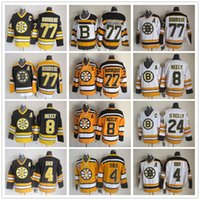 Boston Bruins Vintage 4 Bobby Orr 8 Cam Neely 77 Ray Bourque 24 Terry O'Reilly Branco Preto 75TH CCM Ice Hockey Jerseys