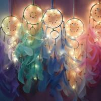 الديكور المنزلي حلم الماسك أضواء مع الريش اليد المنسوجة الحلي عيد الميلاد هدية التخرج تعليق على الحائط ديكور لديكو سيارة