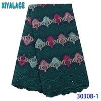 Самый лучший продавая швейцарский шнурок ткани Африканский Ткань шнурка Швейцарский Voile в Швейцарии Вышитые хлопка с камнями KS3030B