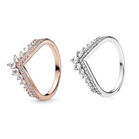 2019 New Princess Wish Anillo para Pandora 925 Sterling Silver con CZ Diamond Rose Gold Charm de alta calidad Anillo de las señoras