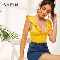 SHEIN Yellow Sexy Plunging Neck Ruffle Trim Crop Top Women C...
