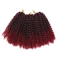 Afro kıvırmak demetleri örgü Sentetik Örgü saç Ombre bug ile sarışın Tığ Örgüler Saç Uzatma toplu saç