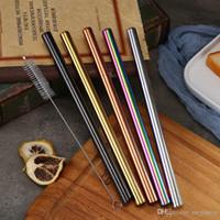 Yeniden kullanılabilir Paslanmaz Çelik Hasır Seti Düz Bent Straw Temizleme Fırçası 5pcs Metal Smoothies Pipetler Set İçme