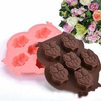 Alta qualità Lovable Gufo a forma di torta del silicone muffa del cioccolato muffa DIY del cubo di ghiaccio del cubo di ghiaccio del vassoio del sapone della muffa Salute piena