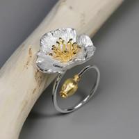 Inature 925 Sterling Silver Poppy Vintage Flor Anéis Para As Mulheres Anel de Casamento Ajustável Jóias Y19052201