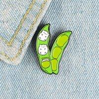 Piselli del fumetto dei cartoni animati di piselli Spille per le donne Carino Bianco Gattino Bianco Smalto Pin Verde Pianta Verdure Verdure Verdure Pin Badge Shirt Camicia Borsa Gioielli Regali della ragazza