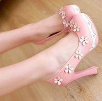 Новое прибытие горячие продажа спец супер мода приток благородный Sweety мелкий рот круглая голова цветы Леди розовый маленький свежий каблуки обувь EU34-39