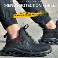 HEFLASHOR 2020 أحذية تو جديد الصلب غطاء رجل السلامة احذية عمل المرأة أحذية بالاضافة الى حجم 39-48 أحذية تنفس في الهواء الطلق