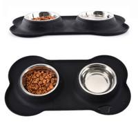 Silikon Pet Mat Paslanmaz Çelik Kaseler Ile Köpek Kedi Su Geçirmez Pet Gıda Pad Pet Kase Içme Mat Köpek Besleme Placemat Kolay Yıkama