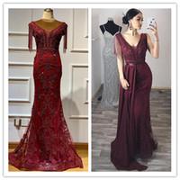 noche elegante Dubai Vino tinto extraíble Fajas Prom Dresses2020 rebordea sin mangas de la borla de lujo vestidos formales 2020 Prom Vestidos Abendkleid