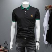 Botão Moda slim Polo 2019 Trendy Business casual de Slim lapela manga curta camiseta-de Men Short Verão Top de Homens