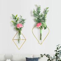 Hierro forjado Cristal Tubo de ensayo Vaso Colgando planta hidropónica florero la decoración del hogar Decoración para la pared