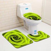 Bela Pétalas 3 peça Conjuntos de Banho Mat Casa de Banho WC Cubra e Tapete antiderrapante Bath Carpet Água absorvente Bath Rug