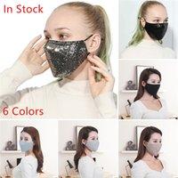 Les femmes bling bling Paillettes Masques Visage Anti-poussière respiration par la bouche-masque réutilisable Masque Masque coton lavable respirateurs 10pcs