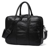 Black Men Genuine Leather Handbags Office Bags for Mens A4 M...