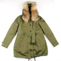 ejército del algodón clásico verde utillaje capas de foso con la correa desmontable encapuchado del mapache cuello de piel para la ropa de primavera