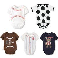 ins de impressão Basebol recém-nascido Macacões Primavera gravata romper Beisebol Softbol manga curta Criança Vestuário Infantil DHL FJ483