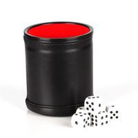 PU cuir Coupe dés mis Multi Color Coupes Sieve Flanelle Bar Party Game Toy 8 résistant à l'abrasion 5oj UU