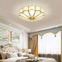 Vintage levou o teto acende iluminação de teto teto criativo cobre luxo elegante flor lâmpadas para sala de estar quarto de hotel corredor corredor