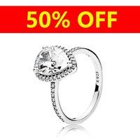 925 Logotipo de boda anillo de la caja original para Pandora Sterling gota de lágrima de plata CZ anillos de diamante para muchachas de las mujeres regalos de Navidad