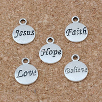 Hope Believe Love Faith Jesus Charms Pendentifs 100Pcs / lot 11.5x15.5mm Antique Bijoux De Mode En Argent DIY Fit Bracelets Collier Boucles D'oreilles A-23