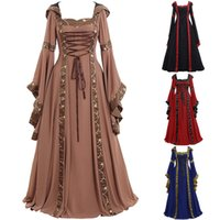 Womens S-5XL Celtic Vintage Lace Bandage Medieval vestido de baile até o chão Renascimento gótico Cosplay Retro celebridades vestidos de festa