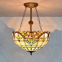 16 인치 유럽 레트로 티파니 스테인드 글라스 서스펜션 램프 창조적 인 거실 식당 침실 현관의 홀 라이트 바로크 체인 Droplight