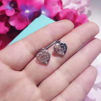 Hot sale S925 pure silver stud Earrings with heart shape and...