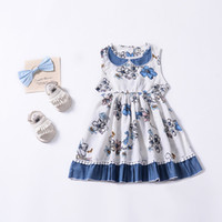 Ins hotsale Summer Baby Girl dresses Toddler clothes Blue Fl...