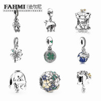 FAHMI 100% Argent 925 Nouveau Sac de fleur d'aventure carrousel d'arrosage Perles Can Trèfle à quatre feuilles Globe Charm Hanging bricolage Bijoux