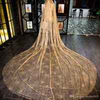 In Stock 2019 Perfect Champagne 3. 8m*3mVeil Bride Veil Sprin...