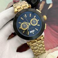 Alta Qualidade Mens clássico Design Relógio de aço inoxidável All Dial Trabalho Chronograph Movimento Quartz Auto Data Masculino Esporte Relógio de pulso Relógio