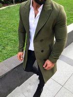 Inverno verde Tweed Mens Suits Últimas Brasão Pants Design Wedding Lã Noivo Smoking Slim Fit Groomsmen Costume Outfit Homme 2piece longo Jacket