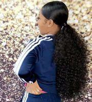인도의 자연 검은 색 긴 빛깔 위브 160g 아프리카 변태 곱슬 클립 인 탄성 밴드의 탄생 졸라 매는 끈 포니 테일 버진 인간의 머리카락 확장