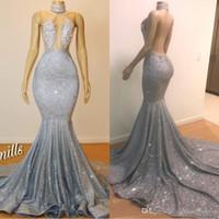 2020 glitter mermaid prom kleider juwel neckperlen kristalle backless siehe durch bodenlangen abend party tragen benutzerdefinierte bc0679