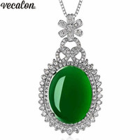 Vecalon Luxury Flower pendant 925 Sterling silver 5A cz Party Wedding Pendants with necklace for Women Jewelry