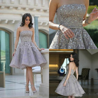 2019 Short Prom Dresses A Line Strapless Lace Crystal Beaded...
