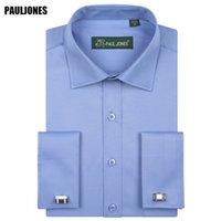 5XL 긴 소매 프랑스어 커프 남성 비즈니스 셔츠 정기 맞춤 솔리드 정장 사회 드레스 브랜드 중국 수입 의류 PaulJones CX200629